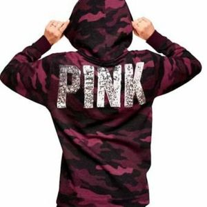 Victoria's Secret PINK Camo Bling Pullover Hoodie